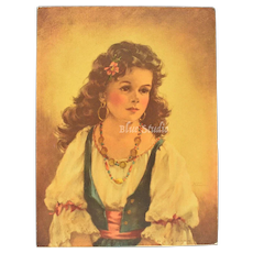 c1940s Ann Allaben Portrait Picture Gypsy Girl Art Print E.G. Co. INC.