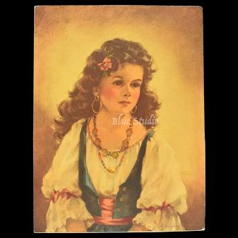 c1940s Ann Allaben Portrait Picture Gypsy Girl Art Print E.G. Co. INC.