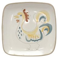 c1950s Glidden Pottery Rooster Mid Century Modern Appetizer Canapé Plate