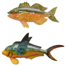 Set of 2 Colorful Paper Mache Fish Wall Hanging Decor