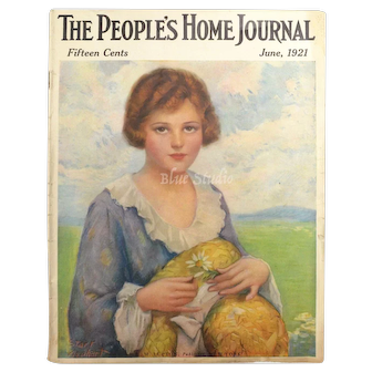 June 1921 The Ladies Home Journal Magazine Art Deco Lady Cover - Complete