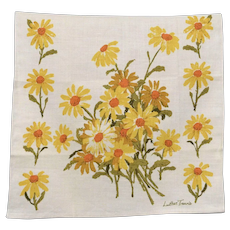 c1970s Luther Travis Yellow & White Daisy Flower Linen Tea Towel
