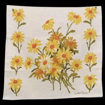 c1970s Luther Travis Yellow & White Daisy Flower Linen Tea Towel