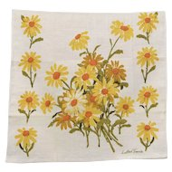 c1970s Luther Travis for Fallani & Cohen Yellow & White Daisy Flower Linen Tea Towel