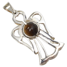 Sterling Silver Dimensional Angel w/ Tiger's Eye Pendant