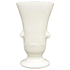 "Cream White Slag Glass Shell Motif Double Handle 7.5"" Tall Urn Vase"