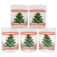 Set of 5 Waechtersbach Christmas Tree Double Old Fashioned Glasses 14oz