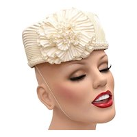 c1950s Ivory White Pleated Satin Pillbox Hat w/ Ruffle Flower