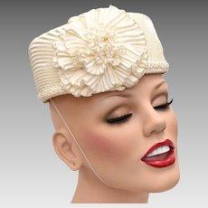 c1950s Ivory White Pleated Satin Pillbox Hat w  Ruffle Flower. Kitsch    Couture 2e9ff08e432e