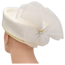 White Straw Pillbox Hat Tulle Rear Bow - Great for Church or Costume
