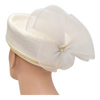 White Straw Pillbox Hat w/ Rear Tulle Bow - Great for Church or Costume