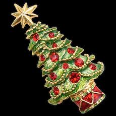 Christopher Radko Green Enamel Christmas Tree Pin/Brooch w/ Red Swarovski Crystal Rhinestones