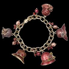 Liz Claiborne Signed Enamel Ladies Hats, Bonnets, Caps, Baubles & Beads Charm Gold-tone Bracelet