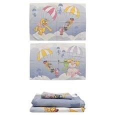 RARE 3-Pc Martex Jim Henson The Muppets Balloon Race Twin Fitted & Flat Sheet Set w/ Pillowcase