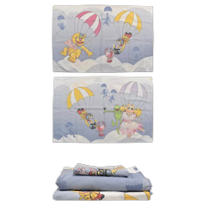 RARE 3-Pc Martex Jim Henson The Muppets Balloon Race Twin Fitted & Flat Sheet Set w/ Pillowcase