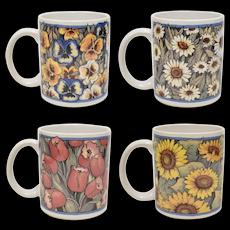 c1996 Set of 4 Farmhouse Blue Flower Susan Winget Ceramic Mug