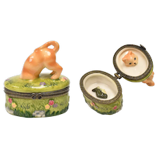 Orange Tabby Cat Peeking Inside Porcelain Trinket Box w/ Tiny Fish Inside