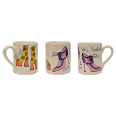 "Jessie Tattersall for Mclaggan Smith Mugs ""Well Heeled"" Platform & Stiletto Shoe Art Print Mug"