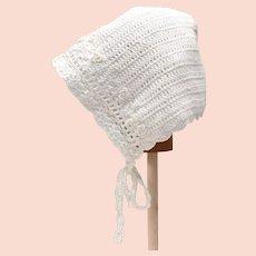 White Lace Crochet Baby Bonnet Cap w/ Tiny Rosettes & Ties