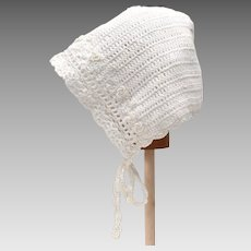 White Lace Crochet Baby Bonnet Cap w/ Tiny Rosettes & Ties