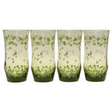 Set of 4 Crazy Daisy Spring Blossom Drinking Glasses Tumbler Set