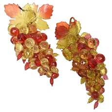 Pair of Large Faceted Lucite Bead Red, Pink & Gold Grape Clusters