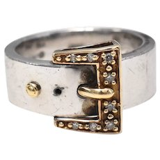 14k Gold & Sterling Silver Buckle Ring w/ Diamond Accents - Size 7 1/4