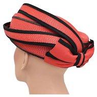 Sylvia N.Y. St.Louis Sassy Red Straw Hat w/ Rear Bow - Great Design!