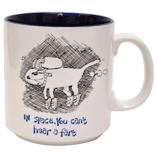 "Humorous Mug By Illustrator John Lamb ""In space, you can't hear a fart"" Space Dog by Papél"