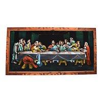 c1960s The Last Supper Jesus Christ Religious Hippie Black Velvet Painting in Original Wood Frame Mexico
