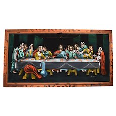 c1960s The Last Supper Jesus Christ Religious Hippie Black Velvet Painting in Original Wood Frame Mexico