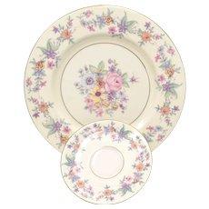 "c1940s Set of 8 Theodore Haviland N.Y. ""Springtime"" Pattern Dinner Plates & Saucers"
