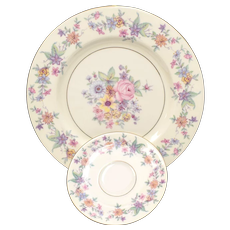 "c1940s Set of 8 Theodore Haviland N.Y. ""Springtime"" Pattern Dinner Plates & Saucers"