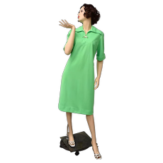 c1960s Nelly Don Bright Green Shift Dress w/ W.Germany Enamel Clip Accent