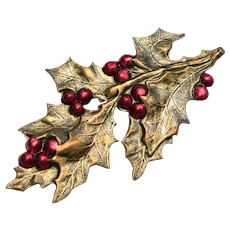 Large Stamped Brass Christmas Holly & Red Enamel Berry Leaf Sprig Brooch/Pin