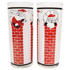 Libbey Set of 2 Christmas Santa in Red Brick Chimney Hi Ball Holiday Glass Drinking Tumblers