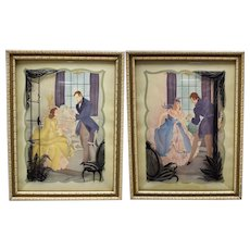 c1940s Set of 2 Reverse Painted Silhouette Convex Glass Victorian Style Courting Couple Wall Hangings/Decor