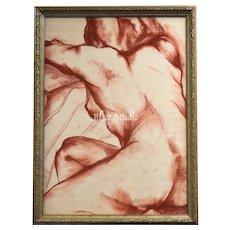 Large Nude Female Art Sketch Pastel Conte Crayon Drawing in Carved Wood Frame