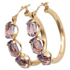 14K Gold Faceted Purple Amethyst Triple Stone Hinged Hoop Earrings