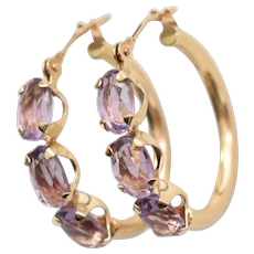 14K Gold Faceted Purple Amethyst Triple Stone Hinged Hoop Earrings