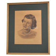 c1952 Art Sketch Graphite Portrait of Young Lady in Multi-Strand Pearls in Genuine Wood Frame