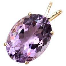 14k Gold Large Faceted Prong Set Purple Amethyst