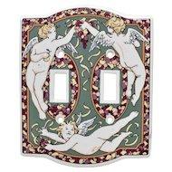 Santa Barbara Ceramic Designs Winged Cherub & Bountiful Fruit 2 Toggle Switch Plate Cover