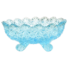 c1940s L.G. Wright Aquamarine Blue Glass Daisy & Button EAPG Footed Bowl Dish