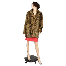Signed Betmar New York Leopard Print Plush Faux Fur Coat - Size XL
