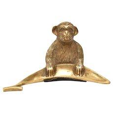 Solid Brass Monkey w/ Banana Figural Pin Tray or Trinket Dish