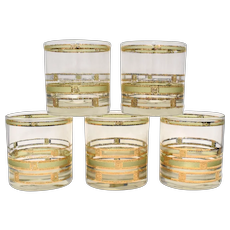 Set of 5 Culver Empress Mid-Century Modern 22K Gold & Green Old Fashioned Lowball Glassware / Glasses