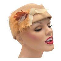 c1940s Designer WWII Era Garrison Style Beige Wool Ladies Hat w/ Brown Feathers, Ostrich Plume & Ribbon Accent