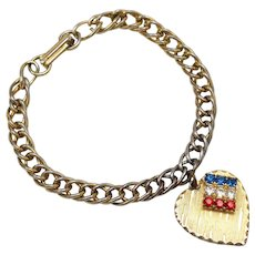 c1960s Patriotic 'Love America' Red, White & Blue Rhinestone Heart Dangle Curb Chain Charm Bracelet