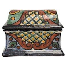 Signed Talavera Mexico Folk Art Hand-Painted Clay Pottery Jewelry Treasure Chest or Trinket Box
